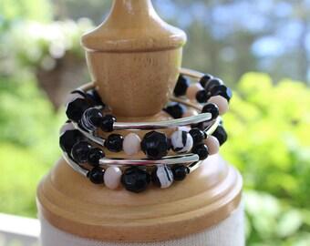 "Twisted bracelet ""Black & White"", 3 rows"