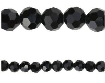10 x Round 6mm JET faceted glass beads