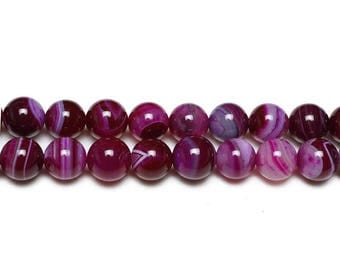 10 x pink natural Agate beads with 6mm