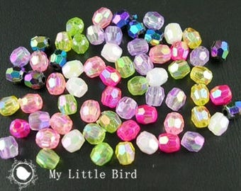50 x beads faceted AB 4mm acrylic assortment