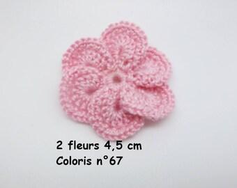 Set of 2 color No. 67 in Mercerized cotton crochet flowers