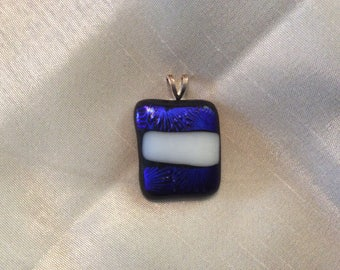 Blue and white fused glass pendant