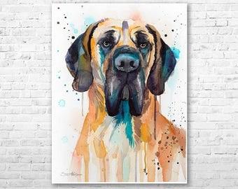 Great Dane watercolor painting print by Slaveika Aladjova, art, animal, illustration, home decor, Nursery, gift, Contemporary, dog art