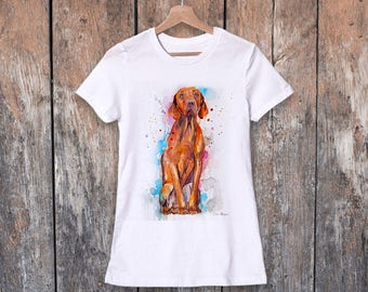Vizsla watercolor ladies' T-shirt, women's tees, Teen Clothing, Girls' Clothing, ring spun Cotton 100%, watercolor print