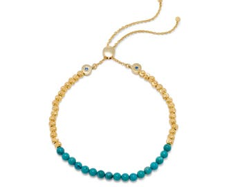 Turquoise Bolo Bracelet 18K Gold Plated Sterling Silver