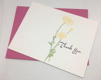 Thank You Card - Greeting Card - Handmade Greeting Card - Printed Greeting Card - Flowery Thank You Card