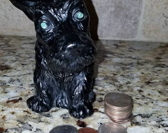 1930s Cast Iron Terrier Scotty Dog Black Coin Bank Vintage Antique