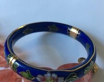 Vintage Cloisonné floral cobalt blue bangle