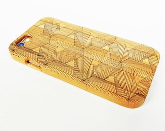 WOODEN PHONE CASE hexagons laser etched bamboo (wooden iPhone 8 case)