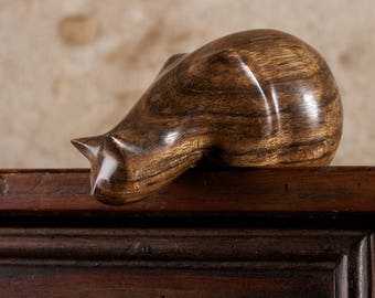 CARVED TO ORDER - Peeping Tom Cat Sculpture, Choice of Wood, Hand Carved by Perry Lancaster,