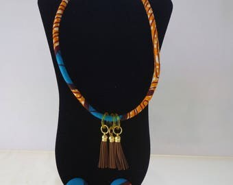 African Rope Necklace, Ankara Wax Fabric, 3 Options
