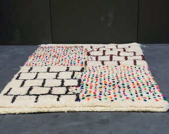 Colorful Gorgeous Soft Azilal Carpet 3x5 Moroccan Vintage Rug Azilal Rug  Tapis Teppich Berber Mid Century