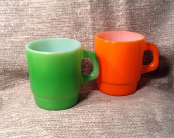 Set of 2 Bright Colorful Coffee or Tea Mugs - Green & Orange - Retro Kitchen - Anchor Hocking Fire King, Ovenproof - Made in USA