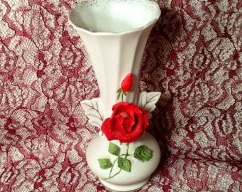 White Porcelain Bisque Vase with Red Rose on the Front - Norcrest Japan Beauty Rose - Leaf Handles, Gold Accents - Valentines, Wedding