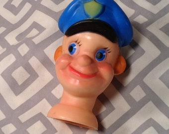 Vintage, Mid Century Policeman Doll Head - For Vintage Toy, Puppet, Ventriloquist Toy - Copyright 1962