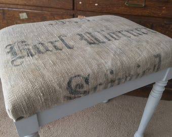 Reupholstered Stool in antique German grain sack- Ships From USA if bought before July 25