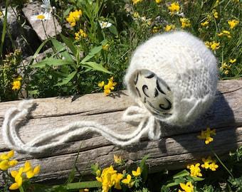 Newborn size Nature's Beauty knit round back bonnet, photo prop,gift idea,coming home,baby alpaca