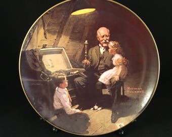 "Norman Rockwell Collector Plate 1983 Knowles China ""Grandpa's Treasure Chest"" Vintage"
