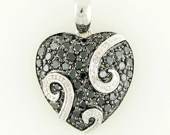 "Sterling Silver 1.79ctw Black Diamond Heart Pendant 1.06""L With 18"" Chain"