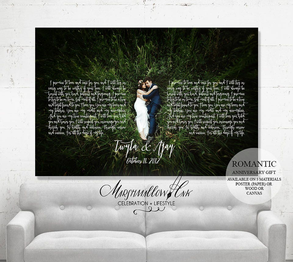 Wedding Anniversary Gift Wedding Gift, 1st Anniversary Gift Unique Wedding Gift for Bride Wedding Vows, Wedding Canvas, Wedding Gift Ideas