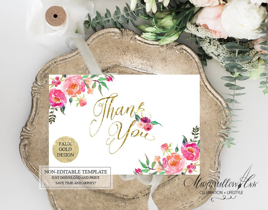 Gold Wedding Thank you Cards Printable, Wedding Cards Set Bridal Thank you Note Card, Wedding Printable DIY Wedding Thank You Gift Cards