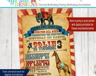 Vintage Circus Birthday Party Invitation - Circus Elephant Invite - Circus Giraffe Invite -