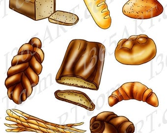 50% OFF Baked Bread Clipart, Bakery clipart, Invitations, Scrapbooking, Digital, loaf, croissant, baguette, rolls, braided, PNG & JPEG, Comm