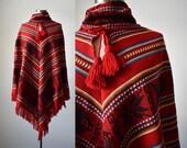 Vintage Knit Poncho / Mexican Poncho / Fall Vintage / Vintage Cape / Red Poncho / Fish Design / Bohemian / 1970s Poncho