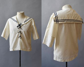 Vintage Sailor Blouse / Lace Up Sailor Top / Cotton Navy Top / Naval Top / Vintage Sailor 32