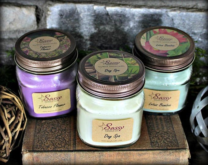 Pick 3 || 8 oz MASON JAR CANDLES || Sassy Kandle Co.