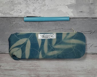 Pencil case,  pen case, make-up bag, slimline pouch,  cyanotype, leaves, blueprint, navy, gift, stationery, birthday present, unique, ooak
