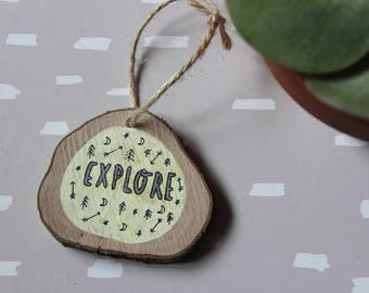 Explore Small Wooden Sign. Wall Hanging. Hand drawn and unique. Type. Pattern. Adventure. Wanderlust