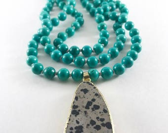 Double Wrap Turquoise Necklace, Turquoise Statement Necklace, Long Pendant Necklace, Knotted Gemstone Necklace, Boho Chic Necklace