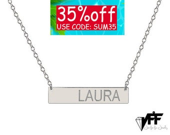 Personalize sterling silver name bar necklace 1 inch initial necklace celebrity inspired nameplate pendant