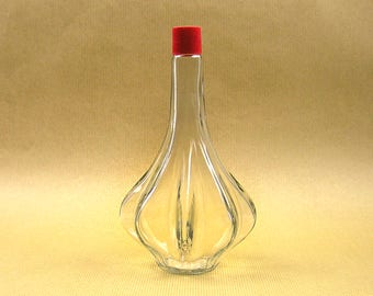 Vintage Glass Bottle with Unique Shape Ribbed Glass Bottle