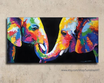 60 x 120 cm, Colorful Elephant Painting wall decor art canvas