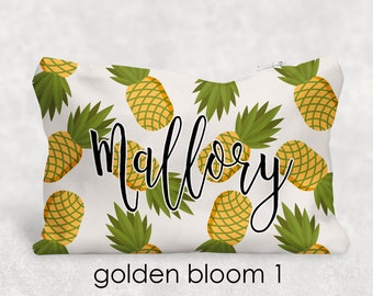 Personalized Pineapple Pencil Case - Cosmetic Bag - Personalized Gift