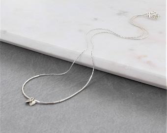 Liquid Silver Heart Charm Necklace