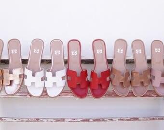 CHOOSE COLOR Sandals, BESTSELLER Greek Sandals, Strappy Slide Sandals, Classic Leather Sandals in Handmade, H Strap Slip on Sandals, Hermes
