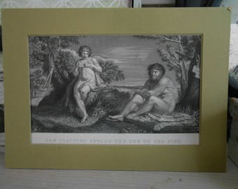 collectors print Pan teaching Apollo the use of the pipe Engraving c 1840 engraving print artist Annibal Carracci shabby chic french decor
