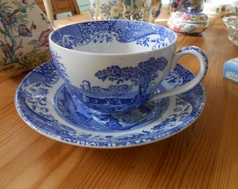 spode blue room collection jumbo tea cup and plate china collectible tableware shabby chic french decor
