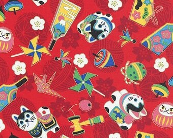 JAPANESE TRADITIONAL TOYS: Red Asian Japanese Cotton Fabric - By the Half Yard