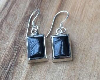 Square Onyx Silver Earrings