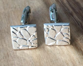 Sterling Silver Pebble Square Cufflinks