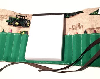 Farm Tractor themed Crayon roll with Doodle pad