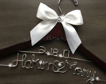 Custom Hanger With Rhinestone Button / Custom Present / Personalized Wedding Hanger / Brides Hanger / Custom Bridal Hanger
