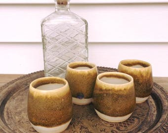Assorted Handmade Pottery Whiskey Cups