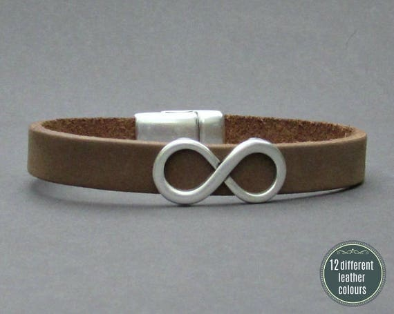 Infinity Mens Leather Bracelet Cuff Leather Mens Bracelet Cuff Silver Plating  Customized On Your Wrist