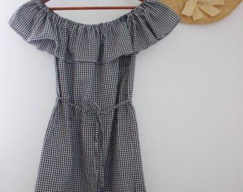 Off the shoulder gingham dress