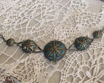Vintage Turquiose Inlaid Sterling Bracelet-Old Pawn-Beautiful craftsmanship-Taxco Turquoise-Turquoise Jelewry-Collectible Jewelry